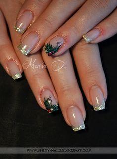 French and holly manicure shinynails Holiday Nail Designs, Holiday Nail Art, Nail Art Designs, Cute Christmas Nails, Xmas Nails, Valentine Nails, Halloween Nails, Posh Nails, Shiny Nails