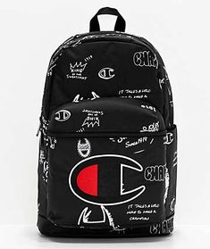 "Show off your winning style when you head back to school with the Supercize black and white backpack from Champion. This spacious backpack comes in black with white Champion illustrations throughout and features a large embroidered Champion ""C"" logo a Black And White Backpacks, Teen Watches, Champion Clothing, Back To School Backpacks, Red Backpack, Cute Backpacks, Small Shoulder Bag, School Bags, Purses"
