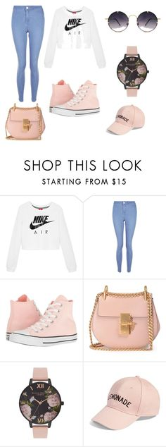 """Pretty in Peach"" by happiness2016 on Polyvore featuring NIKE, New Look, Converse, Chloé, Olivia Burton, Amici Accessories, Spitfire, love and fashionista"