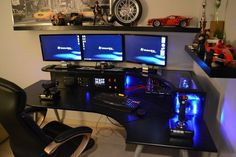 great idea to just build the computer into the desk. one less thing sitting on the ground.great idea to just build the computer into the desk. one less thing sitting on the ground. Custom Computer Desk, Computer Desk Design, Gaming Computer Desk, Computer Build, Pc Desk, Best Computer, Gaming Setup, Computer Rooms, Pc Setup
