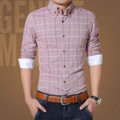 New 2017 Casual Men Shirt Cotton Linen Mens Dress Shirt Slim Fit Plaid Shirts Plus Size Long sleeve Camisas masculina CA1