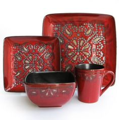 Give your dining table a bold accent by serving up your family meals on the American Atelier Marquee 16 Piece Square Dinnerware Set . This colorful dinnerware.