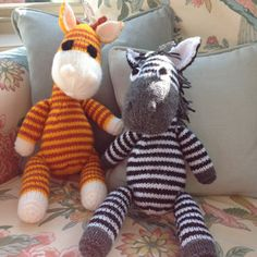 Gerry and Ziggy are the best of friends, and are looking for a new home. If you would like to adopt them, you can knit your own giraffe and zebra pals with this knitting pattern.THE PATTERN INCLUDES: Row numbers for each step so you don't lose your place, instructions for making the zebra and giraffe, plus 19 photos, a list of abbreviations and explanation of some techniques, a materials list and recommended yarns.TECHNIQUES: All pieces are knitted flat on a pair of straight knitting…