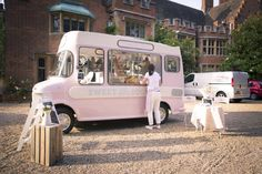 Sweet Ally Scopps ice cream van at a wedding at Lanwades Hall. Sally Lowe Photography