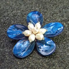 Brooch from dyed blue mother of pearl, fresh water white pearls. Statement, gemstone, handmade, classic, flower, blue colour, for her, pin by Menir on Etsy