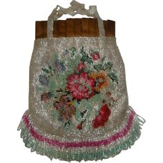Vintage Beaded Drawstring Purse with Flowers & Looped Fringe