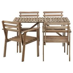 ASKHOLMEN Τραπέζι και 4 καρέκλες με μπράτσα - IKEA