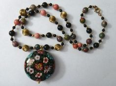 Vintage Huge Cloisonne Pendant Necklace With Natural Stone Beads - 28 inches  #unbranded #Pendant
