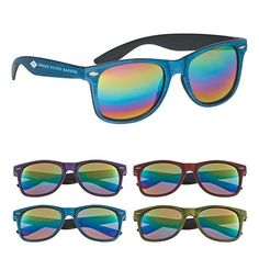 Promotional Woodtone Mirrored Malibu Sunglasses Item #6215 (Min Qty: 100). Customize your Promotional Sunglasses with your company logo and with no setup fees.