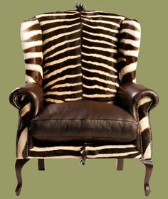 Zebra hide wing back Animal Print Furniture, Animal Print Decor, Animal Prints, Animal Print Bedroom, Furniture Decor, Furniture Design, British Colonial Style, African Home Decor, Wing Chair