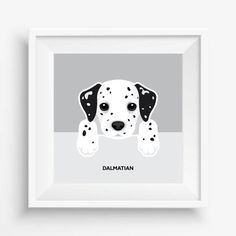 "Dalmatian Puppy ,Dalmatian Print,Cute Dog Print,Puppy watercolor,Pet Decor,digital Prints,nursery decor,8""x 8""inches (20,3x20,3cm)"