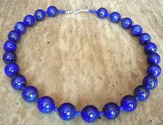 Blue AAA Class Lapis Lazuli Necklace - Blue Lapis Lazuli Beads - 22lg (56cm) - Sterling Silver Finish