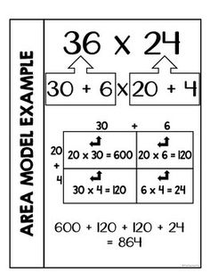 Area Model Multiplication Interactive Notebook by Its a Teacher Life Math Charts, Math Anchor Charts, Math Strategies, Math Resources, Math Multiplication, Math Math, 4th Grade Math, Third Grade, Math Notes