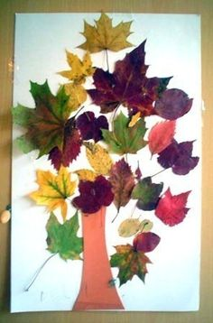 Fall tree - craft idea for kids I would love to glue real bark or bark pieces onto a board and have the kids bring in their own leaves to decorate the tree.