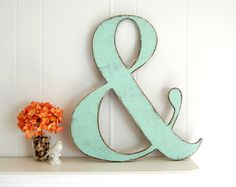 Large painted shabby wooden ampersand - wedding decor - vintage style - light turquoise. $58.00, via Etsy.