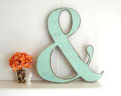 Large painted shabby wooden ampersand - wedding decor - vintage style - light turquoise. $58.00, via Etsy.