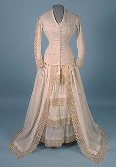 Cotton & Lace Wedding Gown, 1878-1880