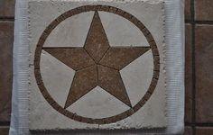Texas State stars and Flag Stars handcrafted,custom tile designs Dal Tile, Hill Country Homes, Texas Star, Decorative Tile, Western Art, Tile Art, Tile Design, Home Depot, New Homes