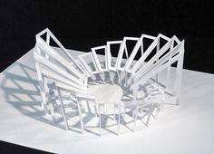 "Fünf Pop-Up-Skulpturen aus weissem Karton Ich fertige limitierte Objekte (""Mu. Five pop-up sculptures made of white cardboard I make limited-edition objects (""multiples"") to order. Architecture Origami, Tropical Architecture, Paper Structure, Sculpture Techniques, Paper Pop, 3d Paper, Origami Ball, Paper Engineering, Arch Model"