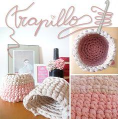 Cestos y pompones de trapillo #trapillo #pink