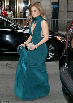 Teal dream:Jennifer Lopez, 48, was seen arriving to a wedding in New York on Sunday...