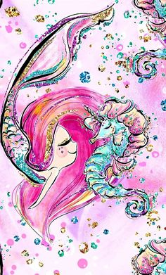 Diamond Painting Mermaid and Seahorse Paint with Diamonds Art Crystal Craft Decor Unicorn Wallpaper, Mermaid Wallpapers, Iphone Wallpaper, Mermaid Wallpaper Iphone, Wallpaper, Drawings, Mermaid Art, Cute Drawings, Art Wallpaper