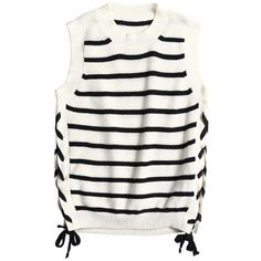 White Striped Knit Top (€62) ❤ liked on Polyvore featuring tops, shirts, striped knit shirt, knit shirt, white striped shirt, striped knit top and white knit top