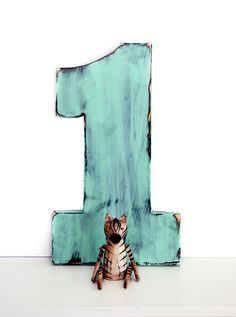 Wooden Number 1 (Pictured in Mint) Pine Wood Sign