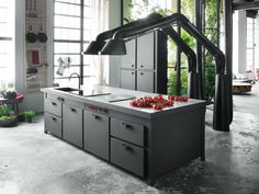 kücheninsel mina schwarz industrie look abzugshaube