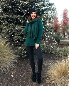 Winter outfit idea: sweater, leggings, boots, scarf and beanie | For more style inspiration visit 40plusstyle.com