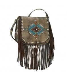 American West Pueblo Moon Fringe Crossbody Flap Bag in Chocolate Brown