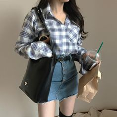 plaid flannel with denim skirt and black OTK boots