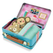 "This adorable beginner sewing kit contains supplies for making a pair of miniature stuffed animals along with their own pillow and blanket, all sized to tuck into a little tin suitcase. Easy-sew felt pieces are pre-cut and pre-punched with holes to make sewing a snap. Colored threads, child-safe plastic needles and a stuffing pack are also provided. Each animal is about 4"" tall."