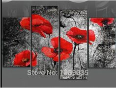 Extra Large Red Poppies Painting with Mockled Abstract Background Wall Art - 2 Options Available Canvas Artwork, Canvas Wall Art, Wall Art Prints, Painting Canvas, Black Flowers, Floral Flowers, Poppy Flower Painting, Poppies Painting, Flower Canvas