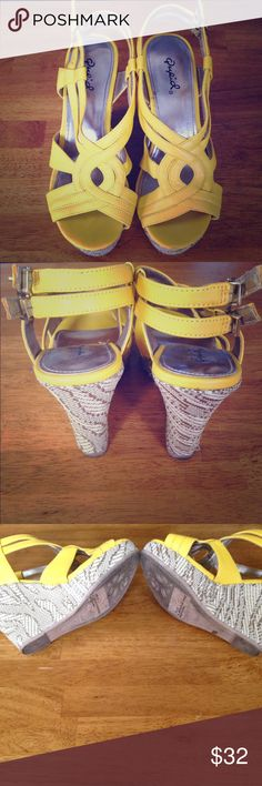 ✨Yellow Wedge Sandals w/ double straps in the back ✨Yellow Wedge Sandals w/ double straps in the back that buckle • Open toed • Really cute design on the front • Worn only ONE TIME!!! LIKE NEW! ✨☀️ Qupid Shoes Sandals