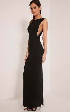 Black Drop Armhole Maxi Dress Featuring a simple contemporary cut, this basic maxi dress is must...