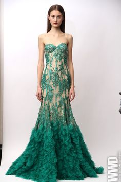 evening gown, blue green http://brayola.com gorgeous flutters at end for altar skirt