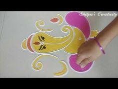 very Easy Ganesha Rangoli Designs Ganesh Rangoli, Diwali Rangoli, Oil Painting Tips, Painting Art, Art Paintings, Ganesha Drawing, Rangoli Ideas, Watercolor Paintings Abstract, Simple Rangoli