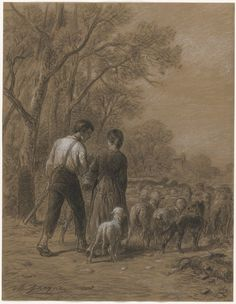 Bringing in the Sheep, 1800s Charles-Émile Jacque (French, 1813-1894) black chalk heightened with white chalk, Sheet - h:40.90 w:31.60 cm (h:16 1/16 w:12 7/16 inches). Bequest of Muriel Butkin 2010.167