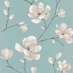 Designer Selection Magnolia Wallpaper Teal / Cream / Brown - Designer Selection from I love wallpaper UK