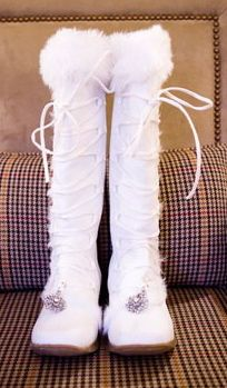 Knee High Fur Boots For The Bride