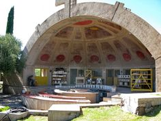 Arcosanti. North Phoenix .Arcosanti is an experimental town began in 1970 and is still being developed today in 2014. Lead designer: Paolo Soleri 1919-2013.