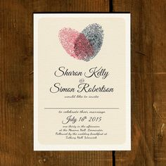 Fingerprint Heart - Wedding Invitation Suite on luxury textured card (printable option also available)