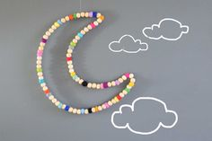 Moon Wall Decor.Kids Decor. Rainbow. Wall art. .Felt balls. Baby Nursery.Kids room.Baby decor.Colourful. Children room Homewares Gift by CloudDen on Etsy https://www.etsy.com/listing/236114048/moon-wall-decorkids-decor-rainbow-wall