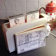 Em seu caderno de rascunhos, ele faz desenhos que interagem com os cenários reais Cartoon Bombing75  605 580x580
