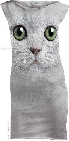 The Mountain Green Eyes Face Cat Mini T-Shirt Dress Mini Dress #TheMountain