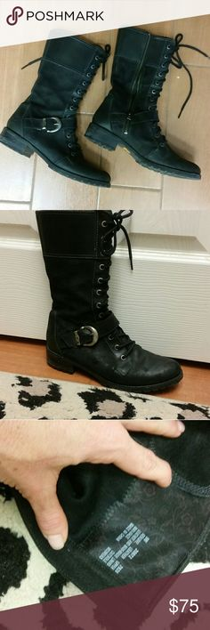 Womens Leather Timberland Boots size 9 Womens Leather Timberland Earth Keepers Combat Style  Boots size 9,  zipper, tie and a buckle fastener, excellent condition Timberland Shoes Combat & Moto Boots