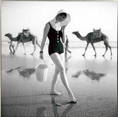 Sondra Peterson in one piece bathing suit, photo by Kourken Pakchanian