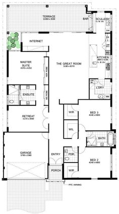 Here's a simple but modern floor plan. It's based on a 3 bedroom layout, with additional retreat. No wasted space in this beauty with unnecessary hallways. The whole house would be very open with the great room boasting huge raked. 3 Bedroom Floor Plan, Bedroom House Plans, Home Decor Bedroom, Bedroom Retreat, Dream House Exterior, Dream House Plans, House Floor Plans, Modern Floor Plans, Modern House Plans
