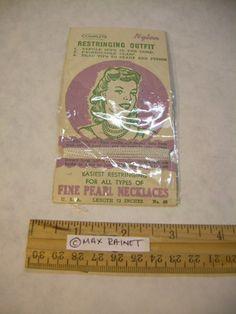 "Vintage Fine Pearl Necklace Restringing Nylon Cord w Needle Orig'L Package 72"" | eBay"